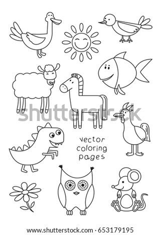 Cartoon Animals Coloring Book Children Vector Stock Vector (2018 ...