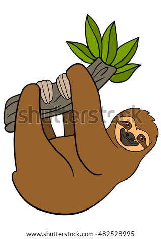 cartoon animals cute lazy sloth hangs stock vector hd royalty free rh shutterstock com sloth clipart cute sloth clipart black and white