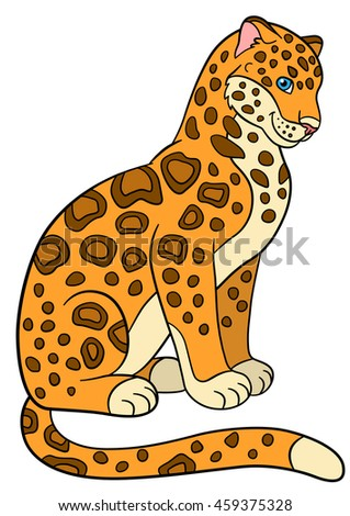 cartoon animals for kids cute jaguar sits and smiles - Pics Of Animals For Kids