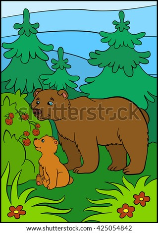 Cartoon animals for kids. Daddy bear with his little cute baby bear looks at the raspberry.