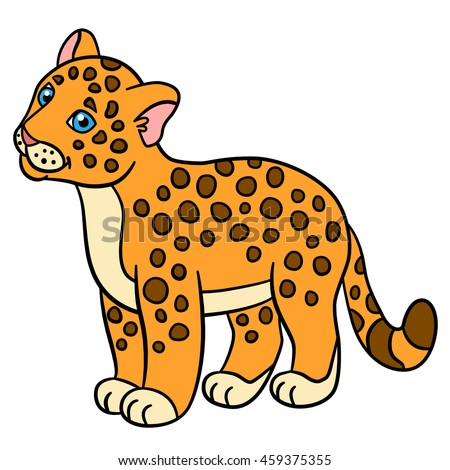 cartoon animals for kids little cute baby jaguar smiles - Kids Cartoon Animals