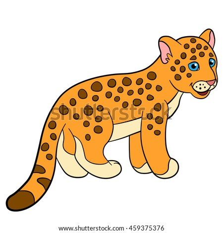 Cartoon Animals Kids Mother Jaguar Her Stock Vector