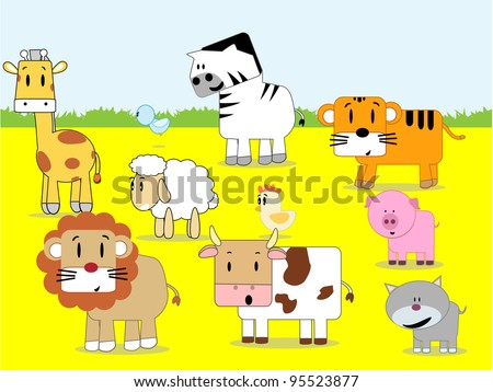cartoon animals gathered together in the yard - stock vector