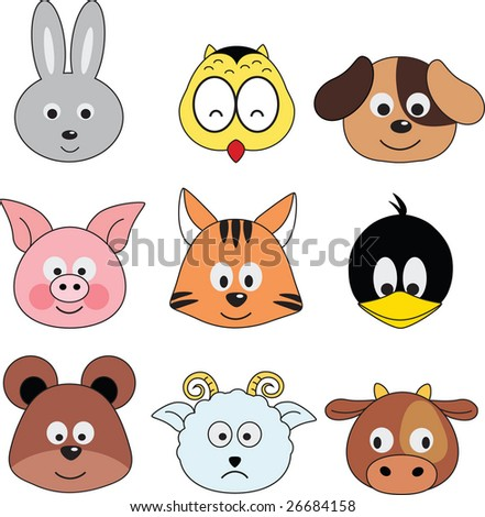 cartoon animals greeting sticker (vector) - stock vector