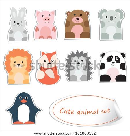 Cartoon animals isolated on white. Education design. Vector illustration. - stock vector