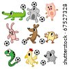 cartoon animals play soccer - stock vector