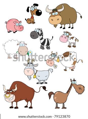 Cartoon Animals Raster Collection - stock vector