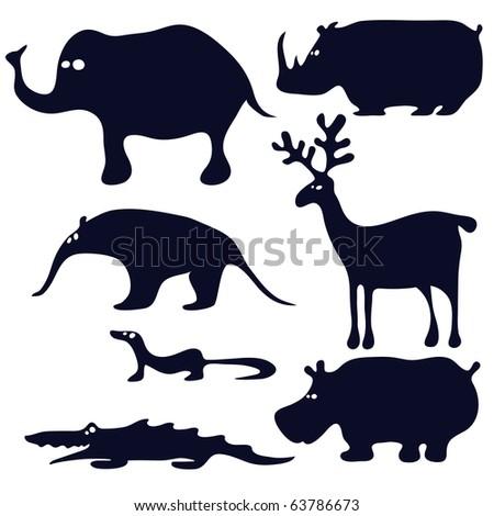cartoon animals silhouette black - stock vector
