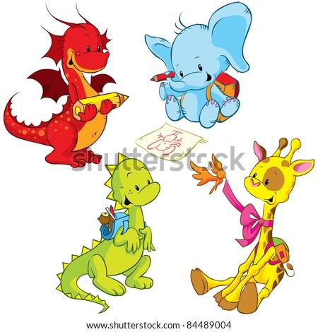 cartoon animals - small schooler - stock vector