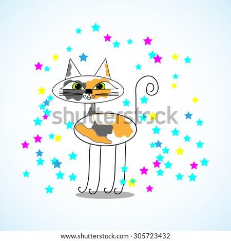 cartoon animated print cat - stock vector