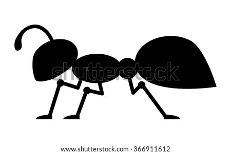Cartoon Ant Insect Bug stylized black silhouette vector icon