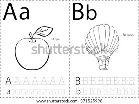cartoon apple balloon alphabet tracing worksheet stock vector 371525998 shutterstock. Black Bedroom Furniture Sets. Home Design Ideas