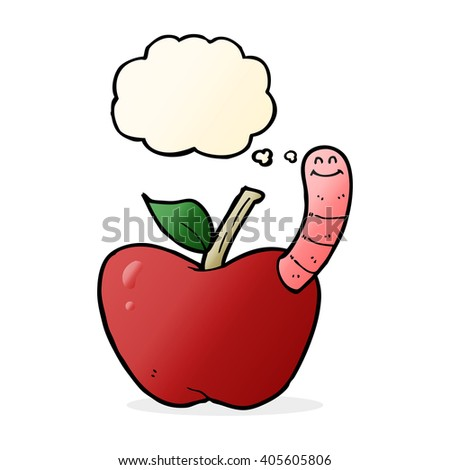 cartoon apple with worm with thought bubble - stock vector