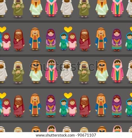 cartoon Arabian people seamless pattern - stock vector