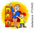 """cartoon art of a dad dressed as super hero with son by his side. titled """"super dad"""" - stock photo"""