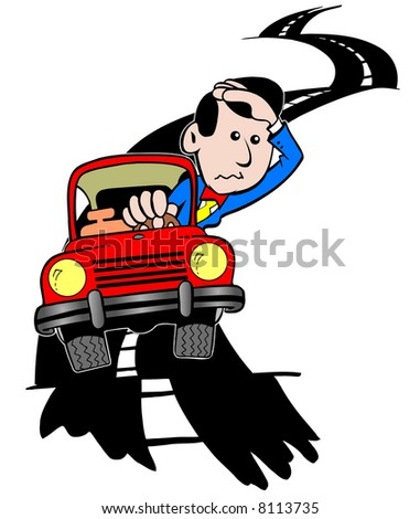 cartoon art of a driver looking for a way to his destination
