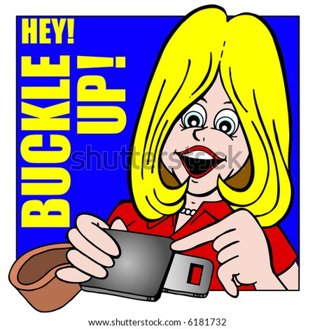 CARTOON ART OF PRETTY GIRL TELLING TO BUCKLE UP