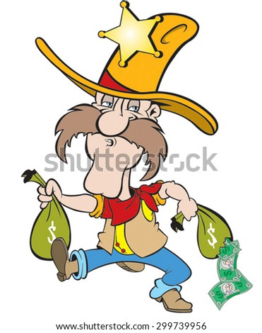 cartoon art of Sheriff carrying two money bags and notices that one is leaking money.