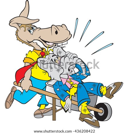 cartoon art of the democrat donkey taking out the trash which happens to be the republic elephant. Would go great with an editorial column. - stock vector