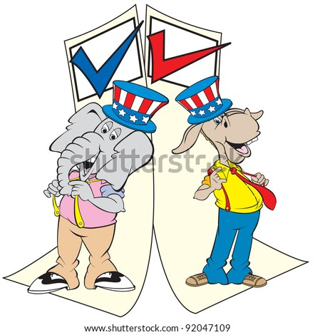 cartoon art of the republican elephant and the democratic donkey standing on the ballot form and wanting your vote. - stock vector