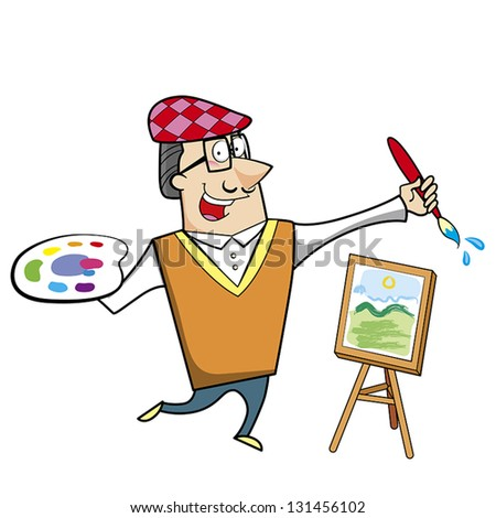 Cartoon artist with paintbrush and canvas easel vector illustration. - stock vector