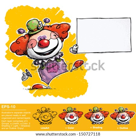 Cartoon artistic illustration clown holding business card stock cartoonartistic illustration of a clown holding business card colourmoves