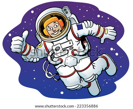Cartoon astronaut, floating in space, giving a thumbs up. - stock vector