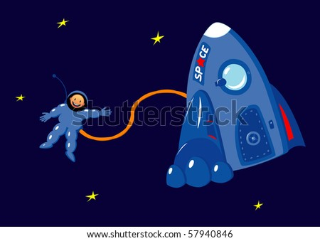 Cartoon astronaut in the outer space - stock vector