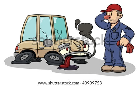 Cartoon auto mechanic with broken car. All elements in separate layers for easy editing.
