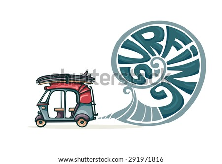 Cartoon auto rickshaw with surfboards and blue smoke. Vector illustration about surfing.  - stock vector