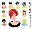 Cartoon avatar various girls faces - one of a series of similar images woman collection - stock