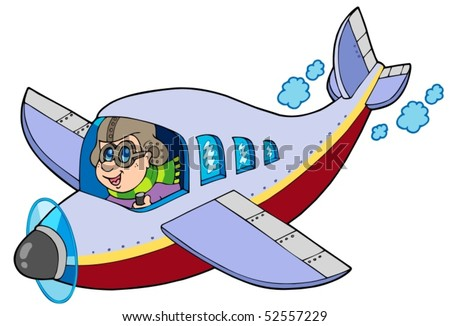 Cartoon aviator on white background - vector illustration. - stock vector