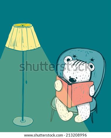Cartoon Baby Bear Reading a Book. Hand drawn childish bear reading. Vector illustration. - stock vector