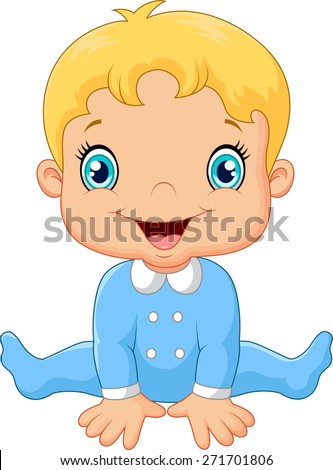 Cartoon baby boy wearing blue pajama - stock vector