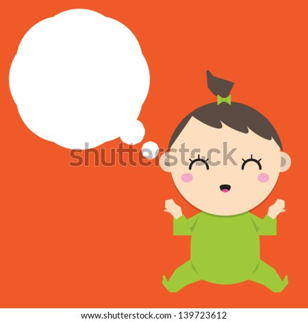 Cartoon baby girl dreaming with a thought bubble. - stock vector