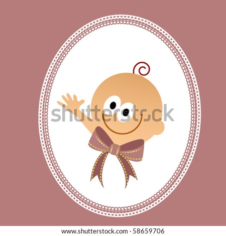 Cartoon baby in frame (use bow and frame without baby for other designs) - stock vector
