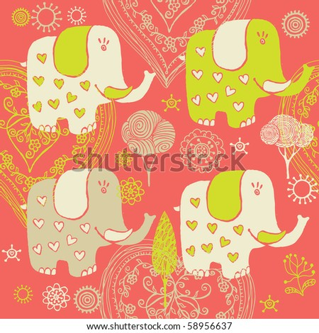 Cartoon baby pattern with elephant - stock vector