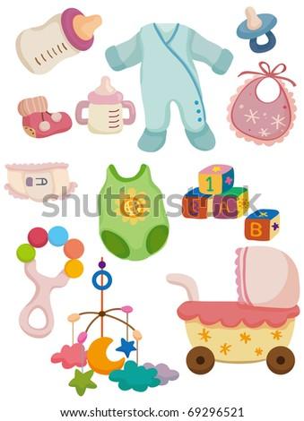 cartoon baby stuff icon - stock vector