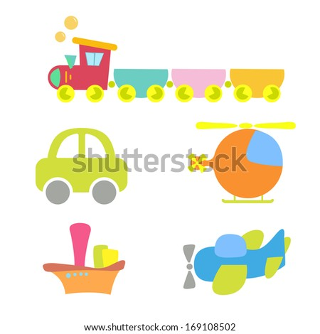 cartoon baby transport, set, isolated on white. - stock vector