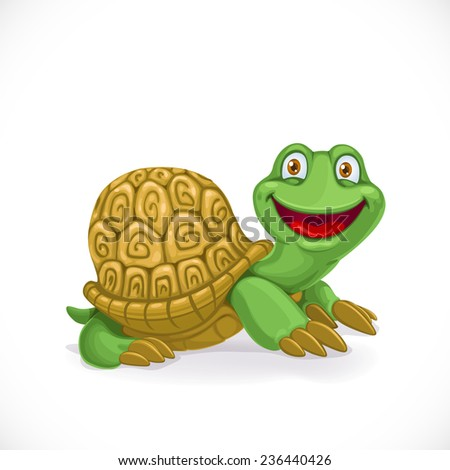Cartoon baby turtle isolated on white background - stock vector