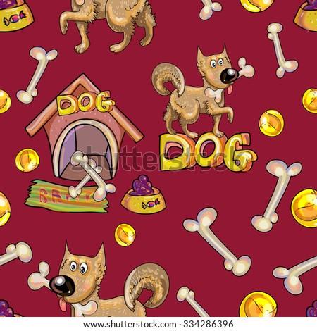 cartoon background. Seamless pattern with the dog and his toys. EPS10 transparent background and burgundy separate layer.