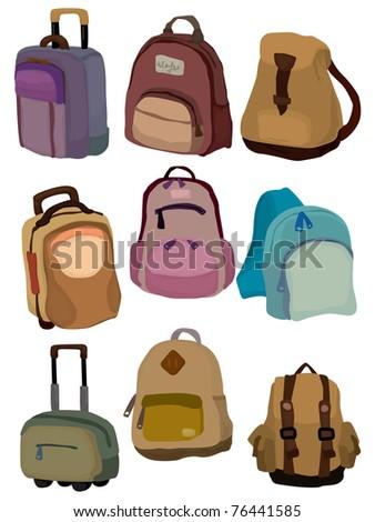 cartoon bag set icon - stock vector
