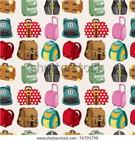 cartoon bag set seamless pattern - stock vector