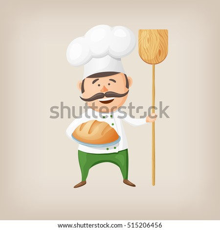 Cartoon baker with fresh bread and a shovel in his hands. Vector illustration.