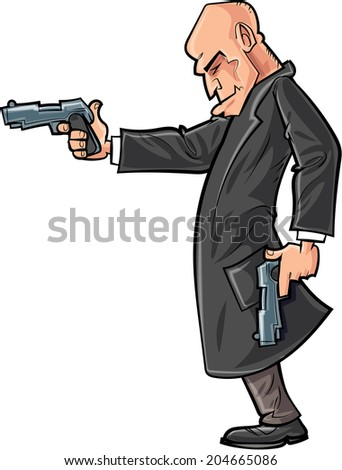 Cartoon bald gun man pointing his gun. Isolated - stock vector
