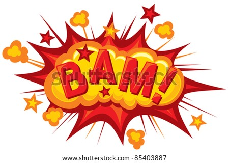 cartoon - bam (Comic bam explosion) - stock vector