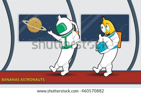 Cartoon bananas astronauts conquer not only space, but also other unknown region and the territory where you would send them) Banana color. Banana illustration.  Banana poster. Banana background.