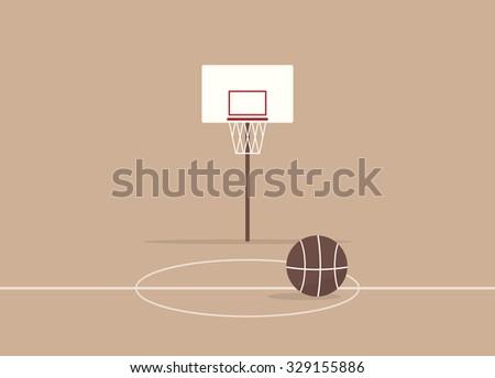 Cartoon basketball court - stock vector