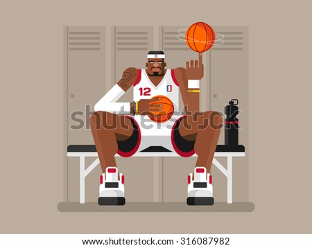 Cartoon basketball player. Athlete person, game and strong man, character sportsman, flat vector illustration - stock vector