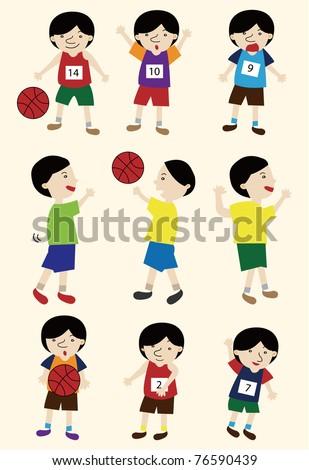 cartoon basketball player icon set - stock vector